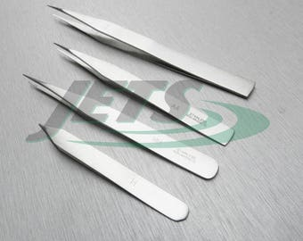 Tweezers Set Stainless Steel Anti-Magnetic Kit Of 4 Types Fine Precision Tools (3E)