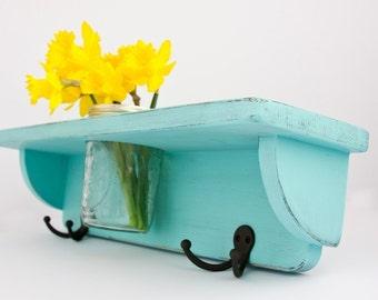 Handmade Shelf, Coat Rack, and Vase in Shabby Chic Turquoise Bay - hats, coats, keys,