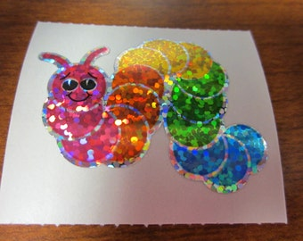 Vintage Hambly Sparkle Prismatic Rainbow Caterpillar Worm Sticker