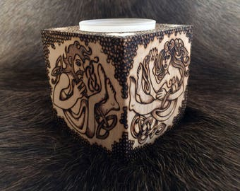 READY TO SHIP! - Votive Candle Holder, Handcrafted solid birch wood w/ wood-burned Celtic Lovers artwork & decoration, votive glass included