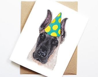 Birthday Card - Great Dane, Dog Birthday Card, Cute Birthday Card, Dog Card, Bday Card, Kids Birthday Card, Friend Birthday Card