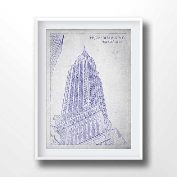 CHRYSLER BUILDING Blaupausen alte Zeichnung New York Print