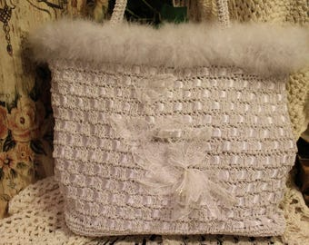 Ladies White Shabby Chic Handbag