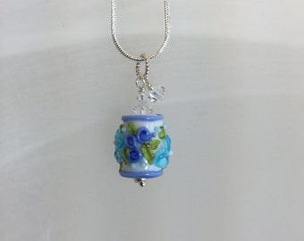 Lampwork necklace blues with crystals
