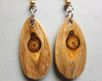 Unique Glowing Pine Drop Dangle Earrings ExoticWoodJewelryAnd handcrafted