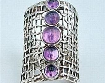 Hadas1951 Hand Crafted Art Silver Amethyst Ring 8.5 (h1142b)