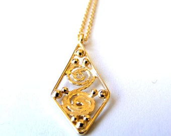 FILIGREE NECKLACE, gold necklace, gold pendant, ethnic necklace, boho necklace, vintage necklace, gold plated necklace, necklace gold