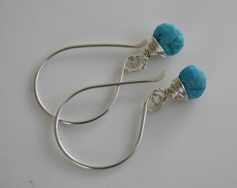 Turquoise Earrings Sterling Silver Faceted Heart Briolette Turquoise Gemstone Earrings Sterling Silver Wire Wrapped Blue Earrings