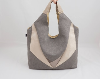 Shopper Triangles canvas Beige with inner pocket