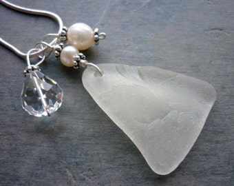 Sea Glass Necklace Leaf Beach Glass Wedding Jewelry Pearl Sterling
