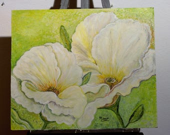 White poppies painting
