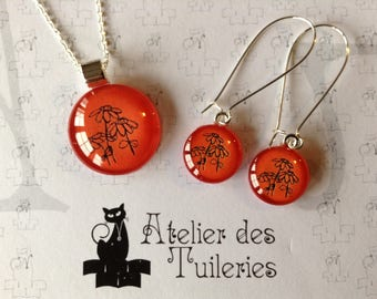 Set necklace and earrings, orange/black