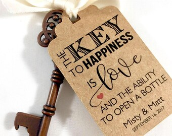 Key Tags, Bottle Opener Tags, Wedding Favors, Skeleton Key Favor Tags, Wedding Key Tag, Key to Happiness, Key Tags, Set of 12