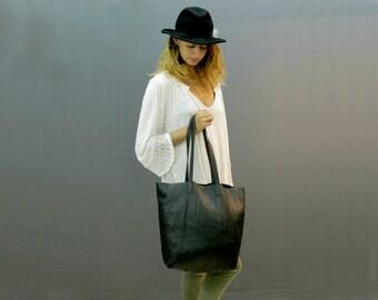 Sale!!! Black Leather Tote Bag Soft Leather Bag Shoulder Bag hobo Bag Women Bag Work Bag Sac bag