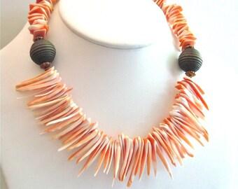 Shell Spike Necklace - Beach Jewelry, Shell Jewelry, Sea Shell Necklace, Statement Necklace, Chunky Necklace