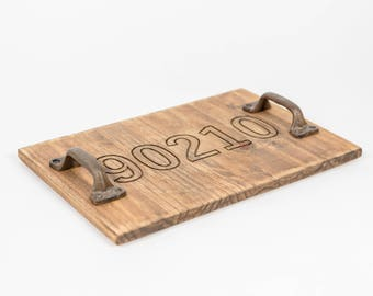 Engraved Zip Code Wooden Tray with Cast Iron Handles, Distressed, English Chestnut, All Zip Codes available