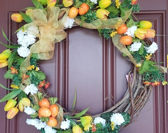 Easter or Spring Carrots Wreath