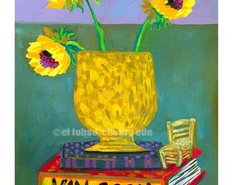 Ode to Van Gogh • still life • art print • giclee • Vincent • floral • flowers • whimsical • flower vase series • art history • book • chair