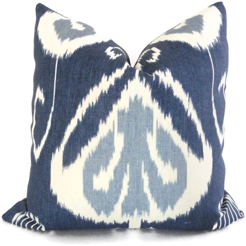 Indigo Ikat Decorative Pillow Cover Kravet Bansuri 18x18