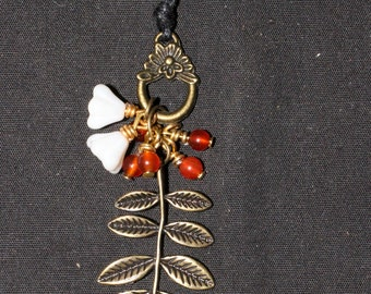 Rowan Leaf and Carnelian Pendant - For Protection and Connection with the Fey - Pagan, Wicca, Ogham, Ogam, Celtic
