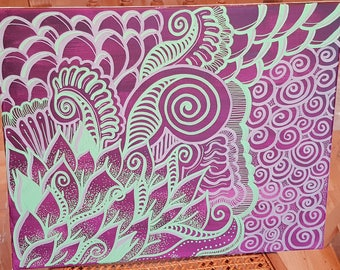 Acrylic abstract on large canvas format 40x50cm canvas style purple/green/zen doodle