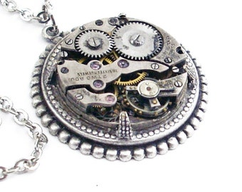 Time Spent - Silver Steampunk Necklace
