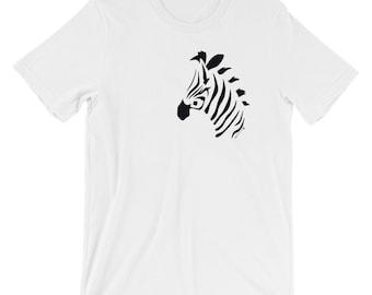 Zebra Design Short-Sleeve Unisex T-Shirt striking minimalist design make a bold statement with this cool Zebra tee for Zebra lovers