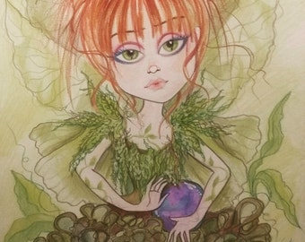 Juno Fairy Fantasy Big Eye Art Print by Leslie Mehl