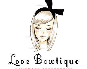 Love Bowtique- Girls Couture - OOAK Character Illustrated Premade Logo design-Will not be resold