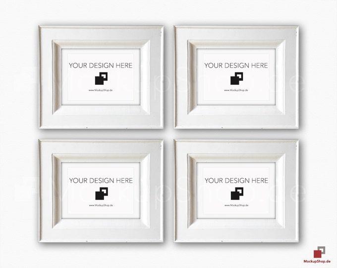 VINTAGE FRAME MOCKUP, Din A5, 4x old white Frame Mockup, Empty Frame Mockup in Vintage Stil, Old Vintage Frame Mockup, Vertical Vintage