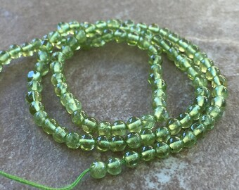 Peridot Beads, Round Peridot Beads, 13 inch strand, 3.5 mm