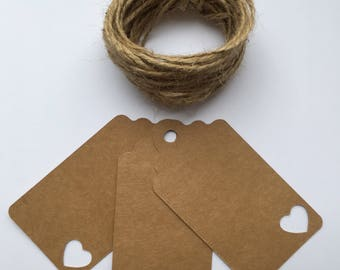20 Kraft Card Tags with heart detail, Wedding Tag, Place Card, Gift Tag, Favour Tag.
