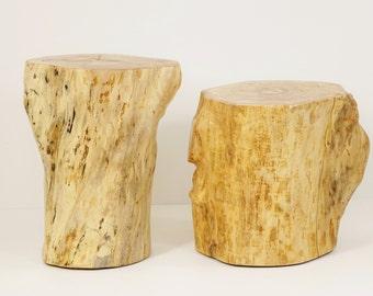 Wood Stump Stool Clone Tree Trunk bedside stump table natural colour tree trunk baumstamm tisch hocker holz
