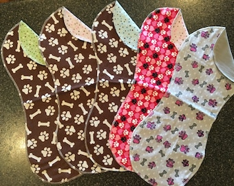 Double-sided Flannel Burp Cloths, Burp Pads, Burpies, Baby Gift, Puppy Prints, Dog