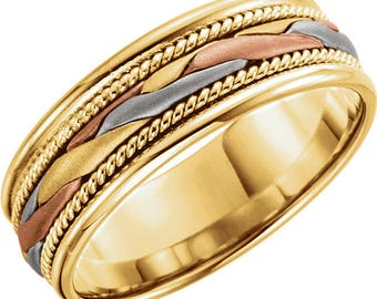 Custom 14 Karat Yellow, White & Rose Gold 7mm Hand-Woven Band