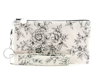 Fabric phone wristlet - white clutch bag handmade from french country chic toile fabric with black flower pattern