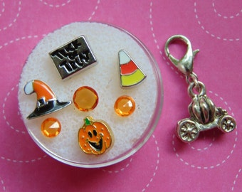 Trick or Treat 8 Piece Halloween Floating Charm Set with Witch's Hat, Candy Corn and Happy Pumpkin. Free Gift with Purchase. US Seller.