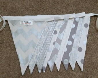 Silver and white bunting