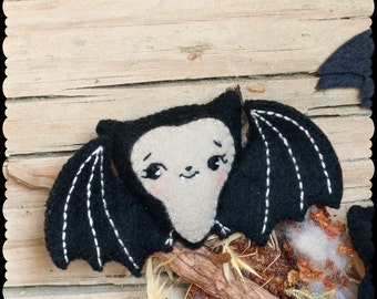 PDF. Cute bat halloween pattern. .Plush Doll Pattern, Softie Pattern, Soft felt Toy Pattern.