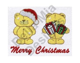 Christmas - Machine Embroidery Design, Merry Christmas, Teddy Bears, Christmas Bears