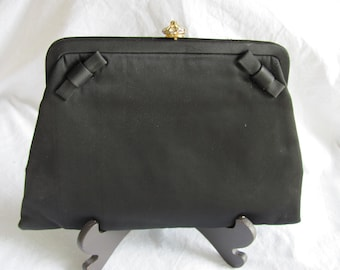 1960s Vintage Black Satin Evening Bag