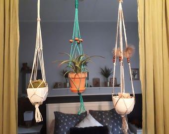 Mini custom macrame plant hanger