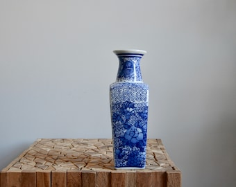Chinoiserie Blue and White Porcelain Pottery Vase |  Vintage Square Porcelain Chinoiserie Vase | Blue and White Vase