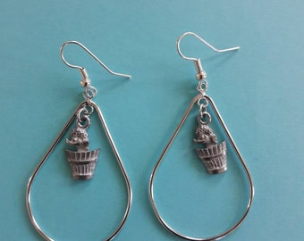 How Much is that Poodle in a Bathtub? Silver Teardrop Earring Set with Vintage Poodle Charms