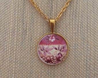 Pink Necklace, Pink Pendant with Gold Chain