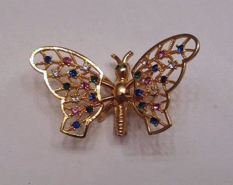 "Trembler Butterfly Brooch Gold Tone Color Rhinestones, Wings Tremble 2"" Wide 1.25"" Tall. Costume Jewelry Butterfly Lover Trembler Pin"