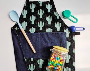 Kids Apron, Children's Apron, Toddler Apron, Apron for Kids, Reversible, Cactus apron, art smock, birthday gift, black apron, gifts under 30