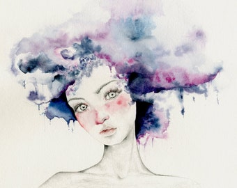 "Watercolor Painting of a Girl ""Angel"" a Giclee Fine Art Print of My Original Watercolor Painting Pencil Drawing Purple Abstract Painting"