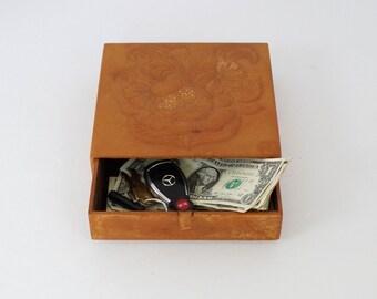 Leather Keepsake Box Vintage Embossed Tan Leather Box