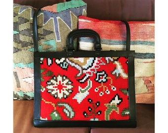 Kilim Leather Bag by Yun Art